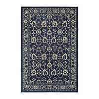 Gray and Navy Richland Abstract Area Rug, 5x8