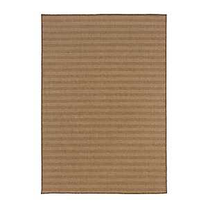 Tan Kara Stripe Outdoor Area Rug, 7x10