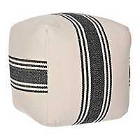 Black Striped Herringbone Pouf