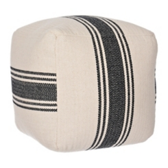 Black Striped Herringbone Pouf