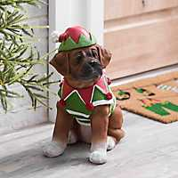 Boxer Puppy in Elf Outfit Statue