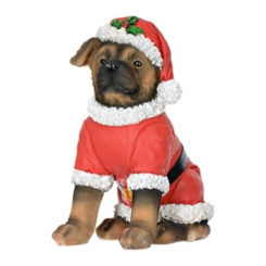 German Shepherd Puppy in Santa Suit Statue