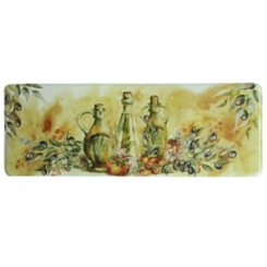 Olive Oil Bottles Memory Foam Kitchen Runner