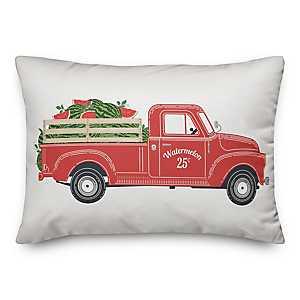 Vintage Watermelon Truck Outdoor Pillow