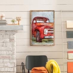 Vintage Truck Print on Metal Framed Art