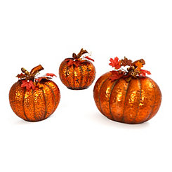 Copper Hammered Metal Nesting Pumpkins, Set of 3