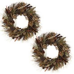 Natural Woodland Harvest Wreaths, Set of 2