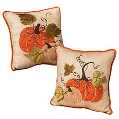 Harvest Embroidered Pumpkin Pillows, Set of 2