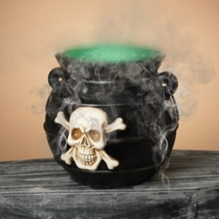 Smoking and Color Changing Witch Cauldron Statue