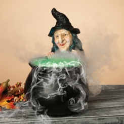 LED Witch with Smoking Cauldron Statue