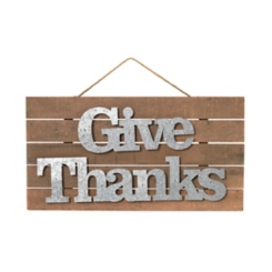Galvanized Metal and Wood Give Thanks Hanging Sign
