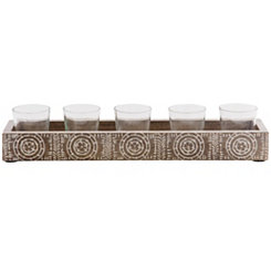 Etched Wood 6-pc. Votive Runner