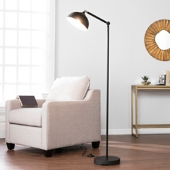 Adjustable Swivel Black Metal Floor Lamp