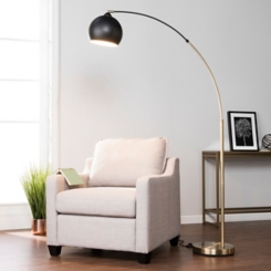 Arched Metal Antique Brass and Black Floor Lamp