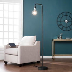 Matte Black Exposed Light Floor Lamp