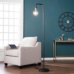 Matte Black Exposed Light Floor Lamp