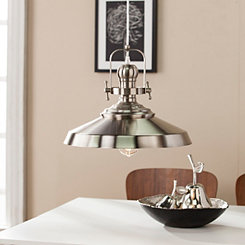 Industrial Bell Shade Brushed Nickel Pendant Light
