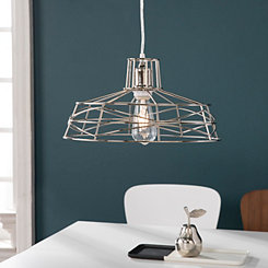 Polished Nickel Wire Cage Pendant Light