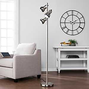 Brushed Nickel with 3-Swivel Lights Floor Lamp