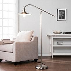 Brushed Nickel Wide Brimmed Floor Light