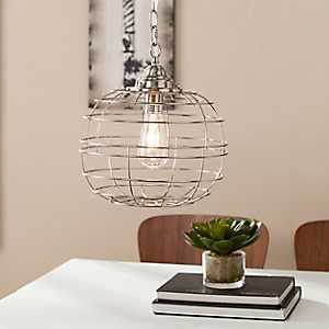 Brushed Nickel Round Caged Edison Pendant Light