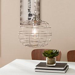 Brushed Nickel Round Caged Edison Pendant Light