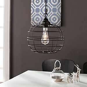 Black Round Caged Edison Bulb Pendant Light