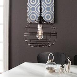 Black Round Caged Edison Bulb Pendant Light