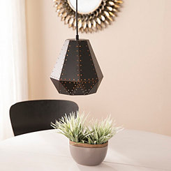 Industrial Punched Black Metal Pendant Light