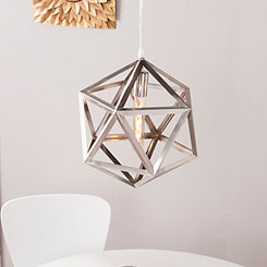 Geometric Brushed Nickel Caged Pendant Light