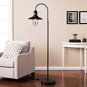 Matte Black Caged Bell Shade Floor Lamp