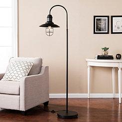 Matte Black Caged Bell Shade Floor Lamp