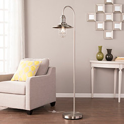 Brushed Nickel Caged Bell Shade Floor Lamp