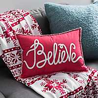 Red Believe Whipstitch Accent Pillow