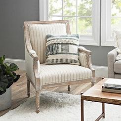 Mckenna Gray And Cream Stripe Accent Chair