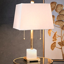 Chloe Gold Metallic White Marble Base Table Lamp