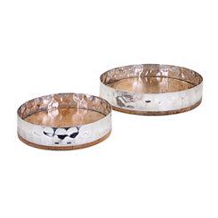 Mango Wood and Silver Hammered Lip Trays, Set of 2