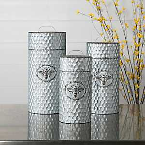 Bee Galvanized Hammered Jars with Lids, Set of 3
