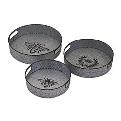 Honeybee Galvanized Hammered Trays, Set of 3