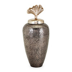 Pewter Ginkgo Lid Vase, 16 in.