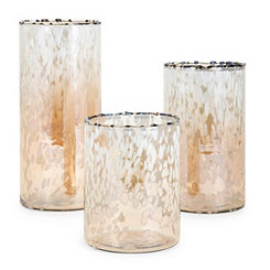 Amber Luxe Glass Hurricanes, Set of 3