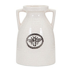 White Honeybee Ceramic Vase, 10 in.