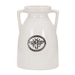 White Honeybee Ceramic Vase, 10 in.