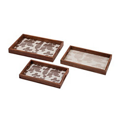 Cowboy Wooden Trays with Cowprint Bottom, Set of 3