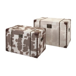 Cowboy Storage Trunks with Cow Print, Set of 2