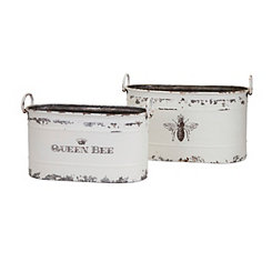 Distressed Queen Bee Metal Planters, Set of 2
