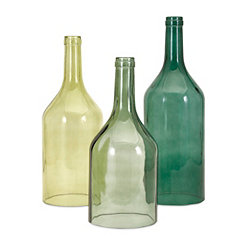 Green Cloche Glass Bottles, Set of 3