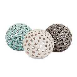 Coastal Cutout Ceramic Spheres, Set of 3