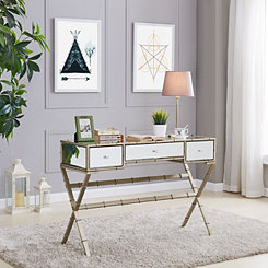 Glam Mirrored Console Table with 3-Drawers