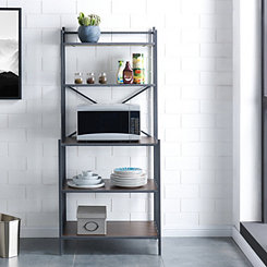 Rustic Gray Berton Bakers Rack with Pine Shelves